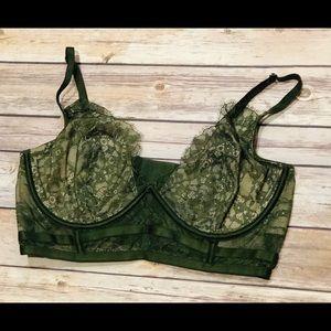 Victoria's Secret Dark Green Mesh Bra Size 36D